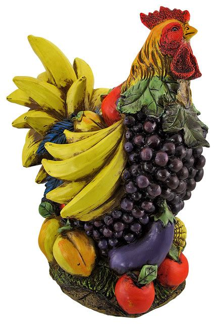 Colorful Large Fruit and Vegetable Chicken Kitchen Statue   Decorative Objects And Figurines