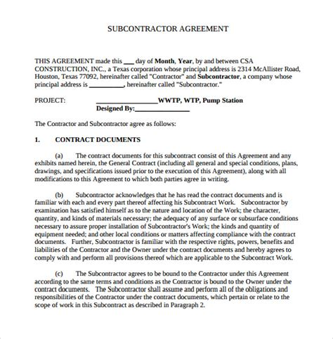subcontractor agreement construction gtld world congress