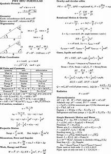 Physics Formula Sheet | PHYSICS 231C/232C Formula Sheets ...
