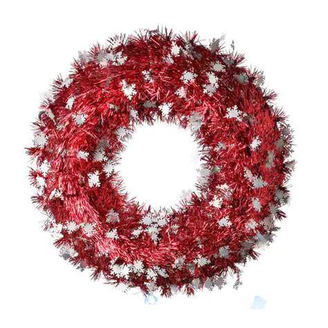 red tinsel snowflake wreath wreaths floral supplies