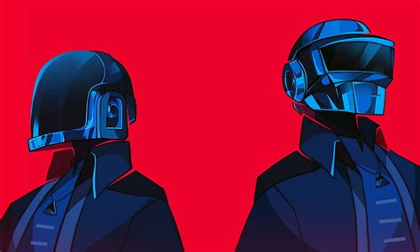 HD wallpaper: music, Daft Punk, artwork, red background ...