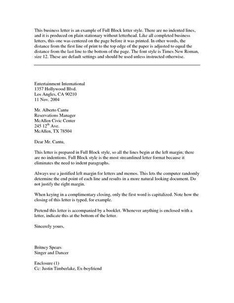 block style letter business letter exles best letter sle free