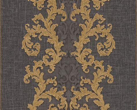 versace home papier peint baroque gris metallique noir