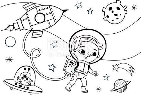 space coloring page  kids stock vector art