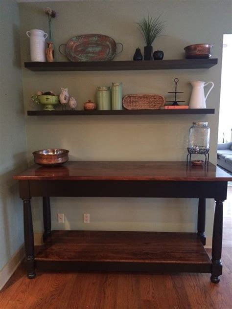 My wife wanted something to fill up a large wall in our kitchen so i designed a collage centered over a buffet table. Buffet with shelves - Wall behind dining room table   Decor, Dining room table, Home decor