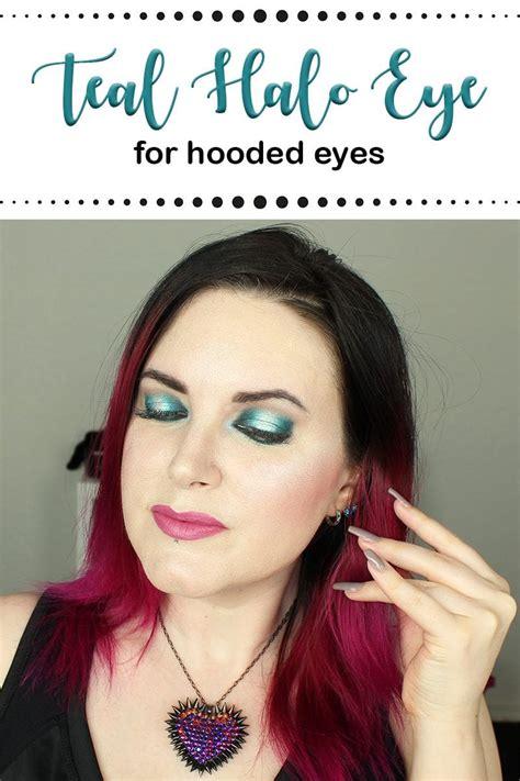 hooded eyes teal blue halo eye makeup tutorial  makeup