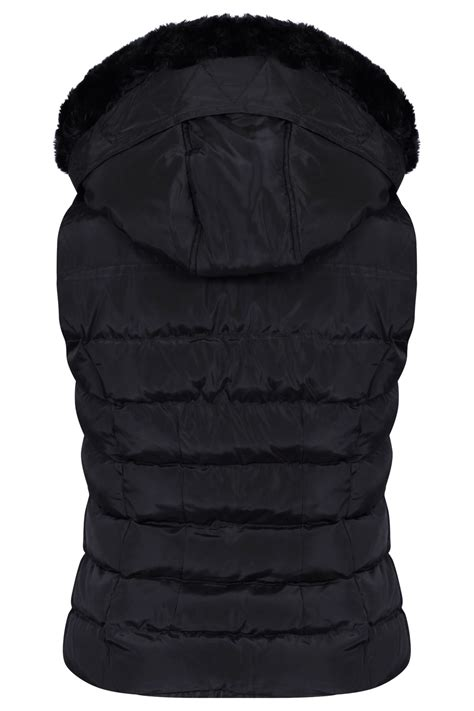 quilted puffer vest womens quilted winter faux hooded gilet vest fur jacket