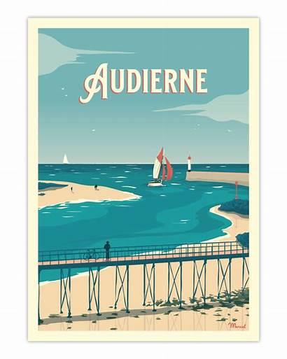 Poster Audierne Passerelle Affiche Marcel Morlaix Baie