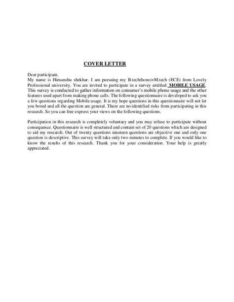 Cover Letter For Questionnaire Surveys by Questionnaire On Mobile Usage
