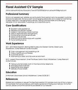 floral assistant cv sample myperfectcv With cv maker uk