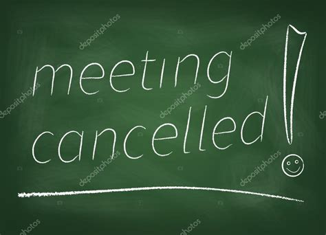 meeting cancelled  blackboard stock photo  mind map