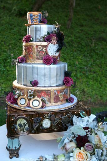 gloriously geeky wedding cakes alice  steampunk