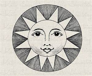 Vintage Smiling Sun Illustration Astronomy Astrology ...