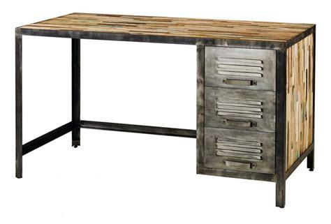 bureau bois et fer bureau déco industrielle en bois et métal