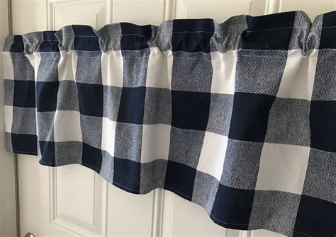 Navy Blue And White Buffalo Check Large Print Curtain Valance Western Style Shower Curtain Hooks Rods For Windows 48 To 84 Door Fly Screen Uk How Sew Grommet Panels Together Home Bargain Curtains Unusual Holdbacks What Colour Go With Gray Walls