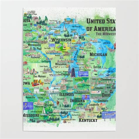 map midwest mn travel wi usa ky mi ia mo oh poster highlights states society6