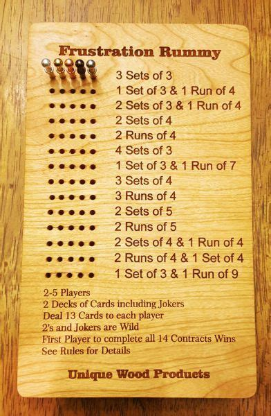 Frustration Rummy Game Board Unique Wood Products