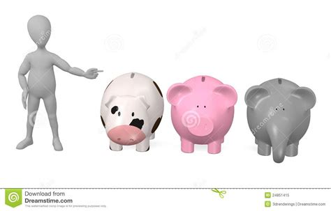 Cartoon Character With 3 Piggy Banks Royalty Free Stock