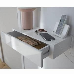 Tv 80 Cm Blanche : tablette avec tiroir blanc form 50 cm castorama ~ Teatrodelosmanantiales.com Idées de Décoration