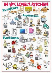 Kitchen picture dictionary1 worksheet free esl for Kitchen furniture esl