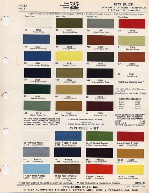 1973 paint codes
