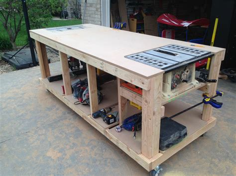 table saw workbench woodworking plans building your own wooden workbench make