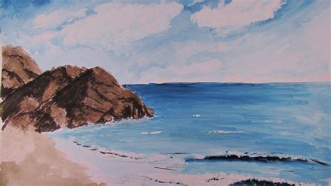 paint  realistic watercolor beach scene youtube