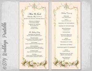 printable wedding programs free printable wedding program template