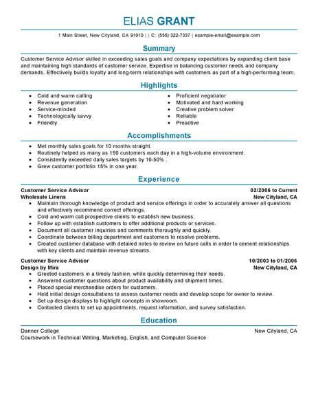 Service Advisor Resume by Best Sales Customer Service Advisor Resume Exle