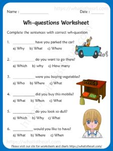 wh questions worksheets   grade  home teacher