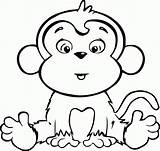 Coloring Pages Monkey Printables Cartoon sketch template