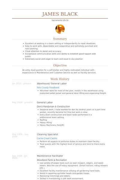 Best Warehouse Resume by Warehouse General Labor Resume Exle Resume Wizards