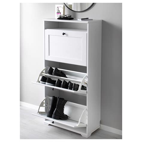 Brusali Shoe Cabinet With 3 Compartments White 61x130 Cm