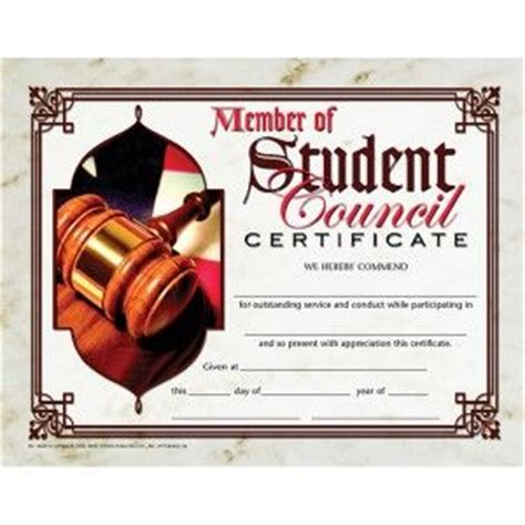 member  student council certificate pack