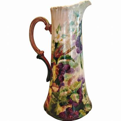 Vase Limoges Pitcher French Painted Tankard Blackberries