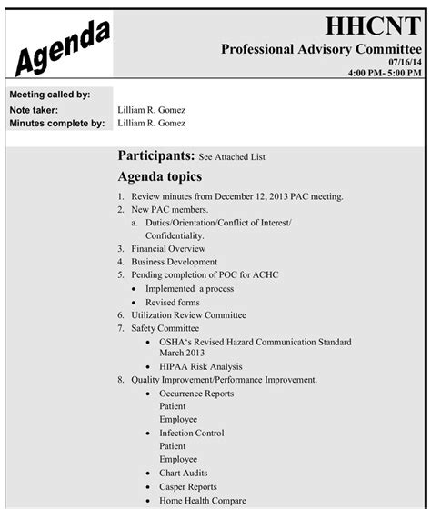 Health And Safety Committee Meeting Agenda Template by Template Safety Committee Agenda Template Safety