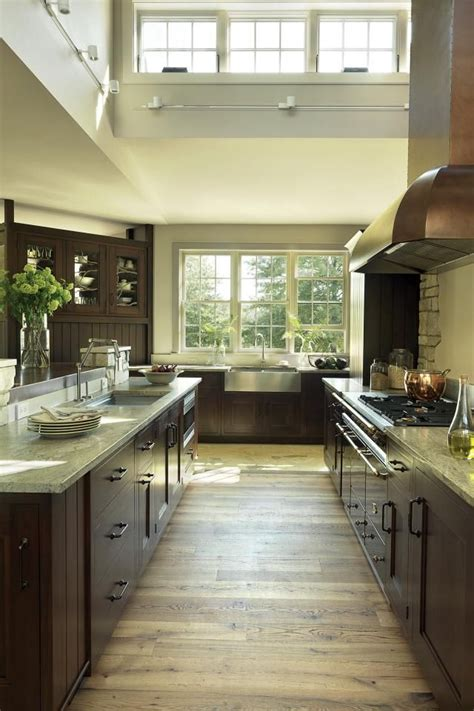 Darker woods such as brazilian cherry wood or other exotics present well in a formal setting. Light floor, dark cupboards | Home kitchens, Kitchen ...