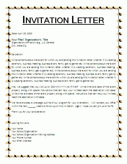 invitation letter template  business templates