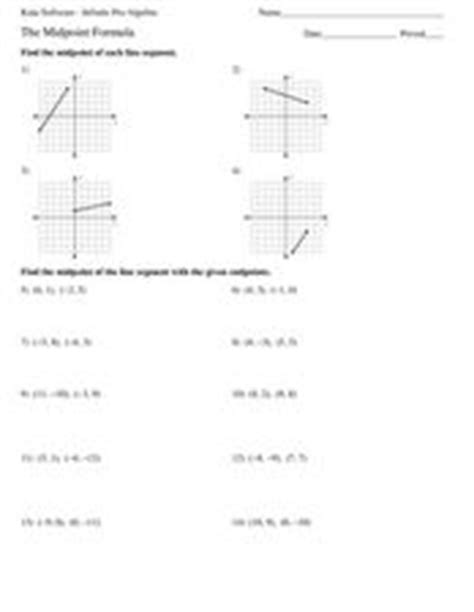 The Midpoint Formula 9th  11th Grade Worksheet  Lesson Planet