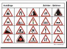 Allerlei Arbeitsblatt AutoBingo GefahrenSchilder