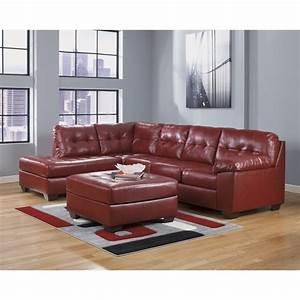 ashley furniture alliston 3 piece leather sectional with With ashley sectional sofa with ottoman