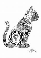 Coloring Cat Patterns Cats Pages Zentangle Elegant Adult Representing Drawing sketch template