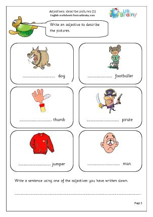 writing adjectives  describe pictures  ks
