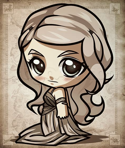 draw chibi daenerys  game  thrones step