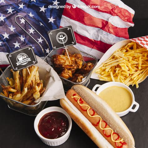 Best free food psd mockups of free and legal, fully layered, easily customizable photo realistic psds: Top view fast food mockup with american flag PSD file ...