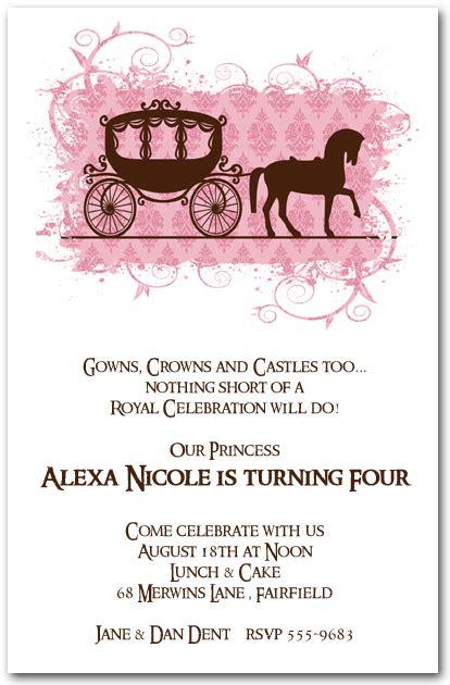 horse carriage   princess birthday invitations