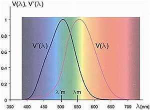 Spectral sensitivity of the human eye