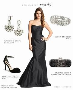 black strapless formal gown With jewelry to wear with black dress for wedding