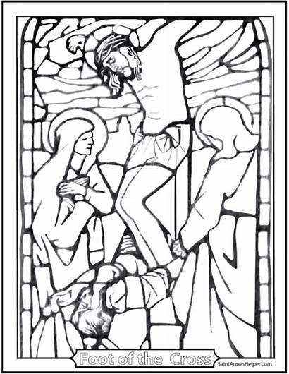 Coloring Cross Pages Crucifixion Lent Friday Stained