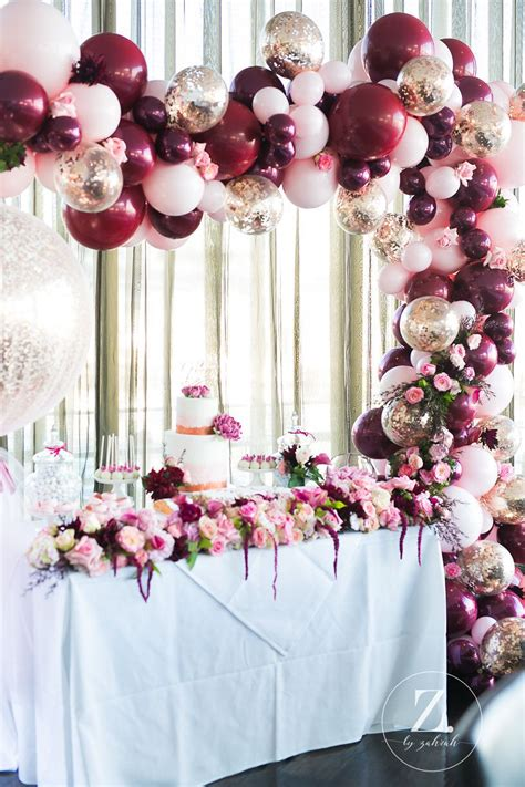 luscious rose gold burgundy pink christening party